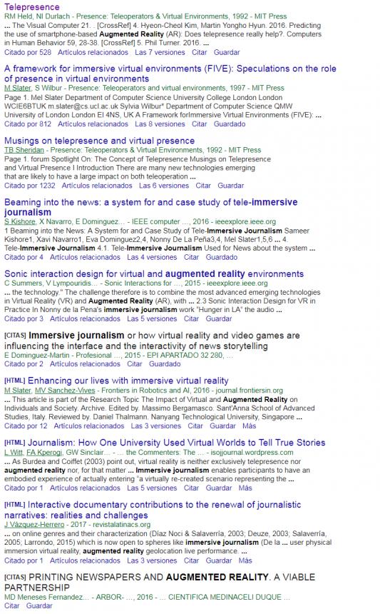 Páginas de resultados de Google Scholar