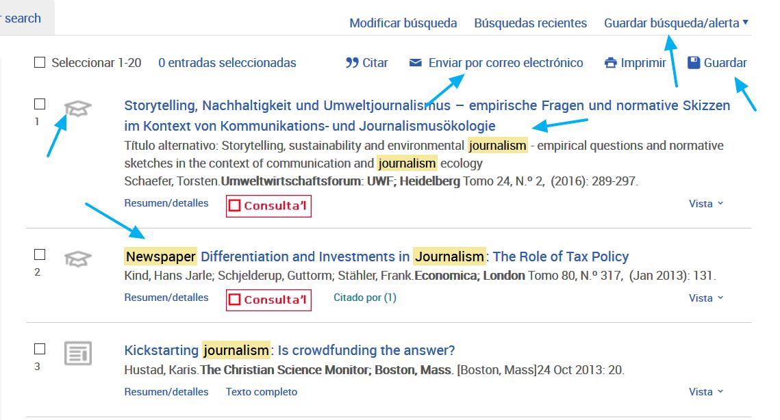 Página de resultados de las bases de datos de ProQuest