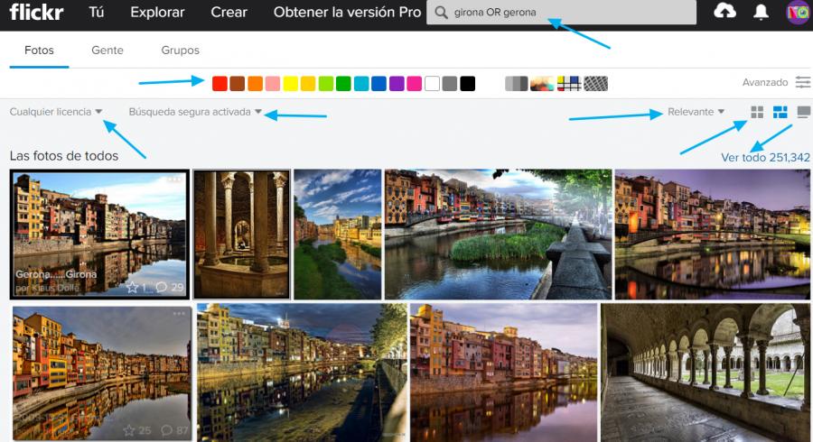 Página de resultados de Flickr
