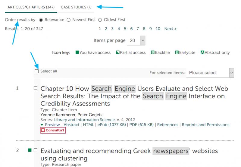 Captura de pantalla de la base de datos Emerald Insight