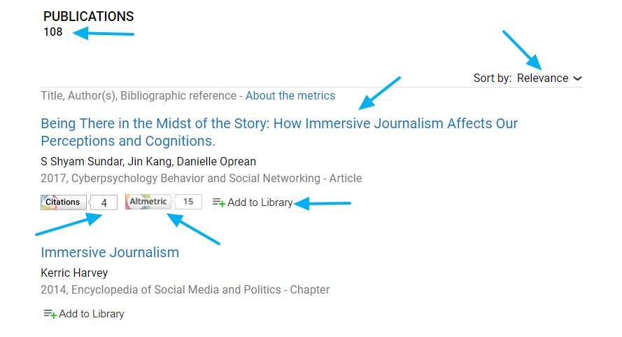 Página de resultados del buscador académico Dimensions
