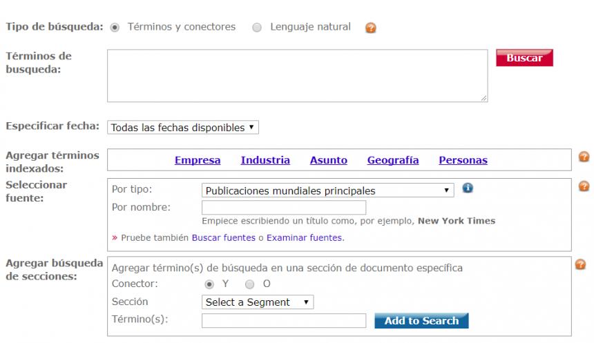 Formulario de búsqueda avanzada de LexisNexis