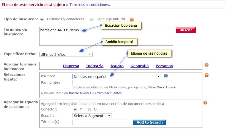 Ejemplo de búsqueda en LexisNexis
