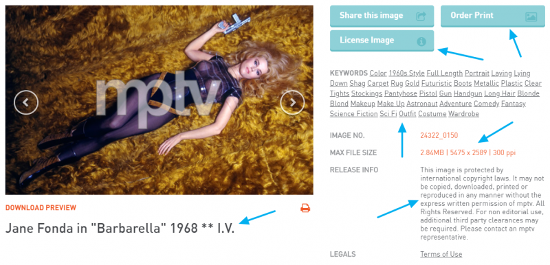 Motion Picture and Television Photo Archive. Foto de Jane Fonda. Barbarella