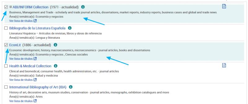 Lista de bases de datos de ProQuest y selección de EconLit y de ABI/Inform
