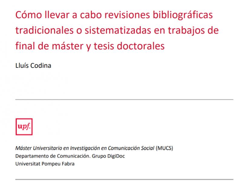 Revisiones bibliográficas y bases de datos. Cubierta del informe.