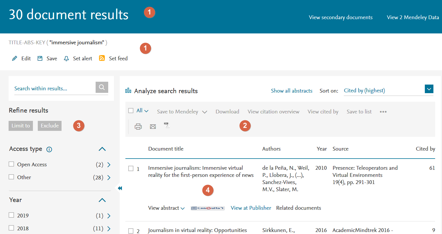 Las zonas activas del pattern de páginas de resultados en el caso de Scopus