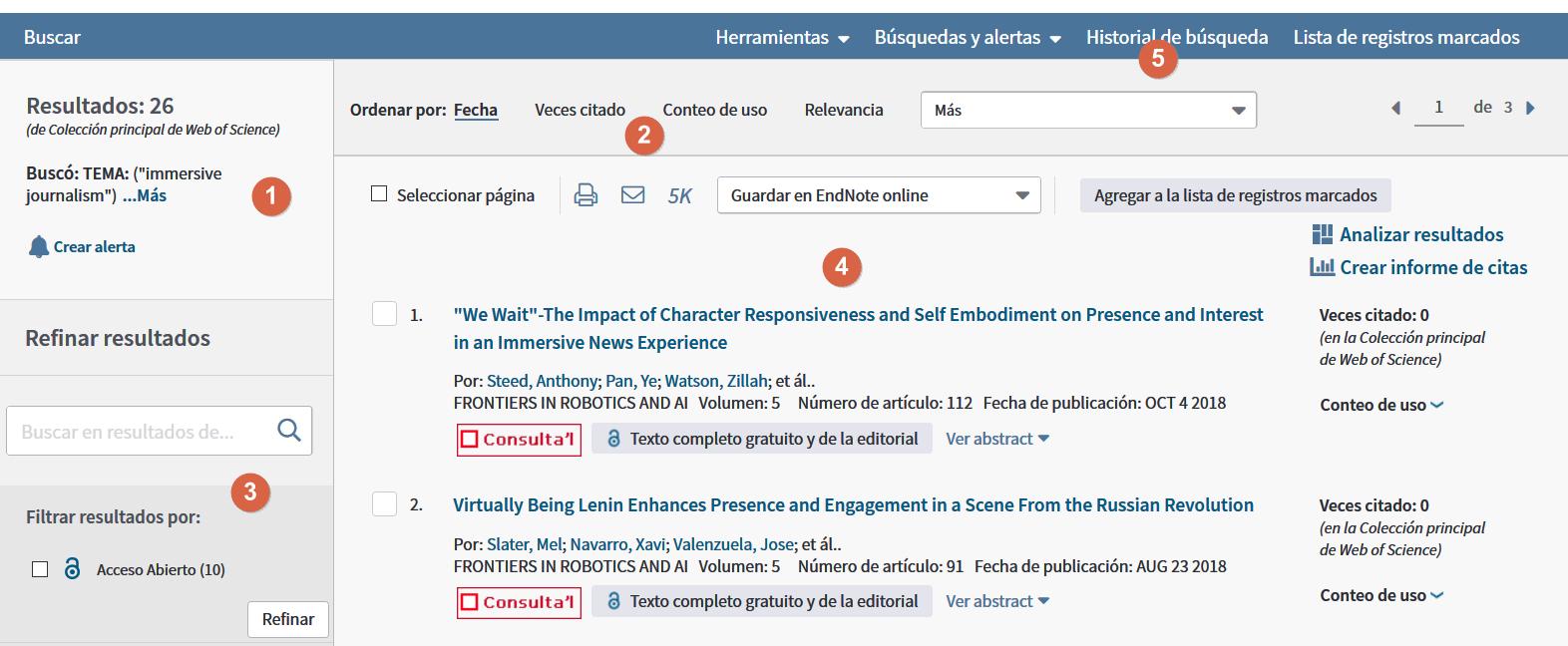 Base de datos académica Scopus. Captura de pantalla de la página de resultados