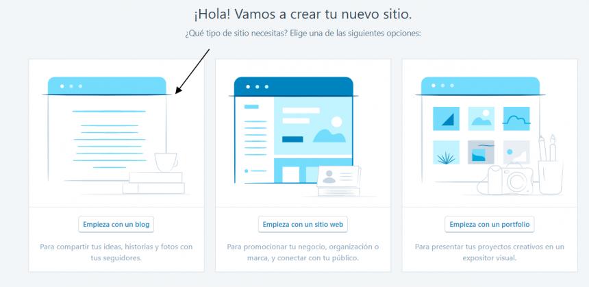 Blog es la opción de WordPress.com