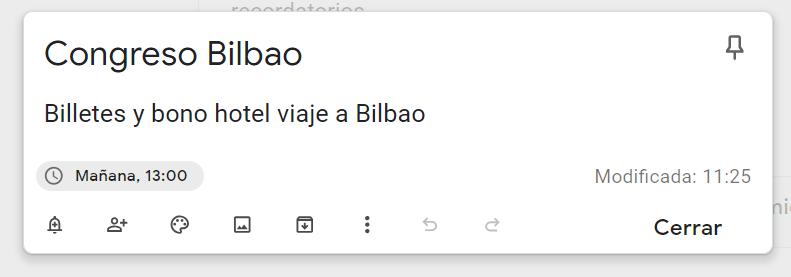 Recordatorio con Google Keep