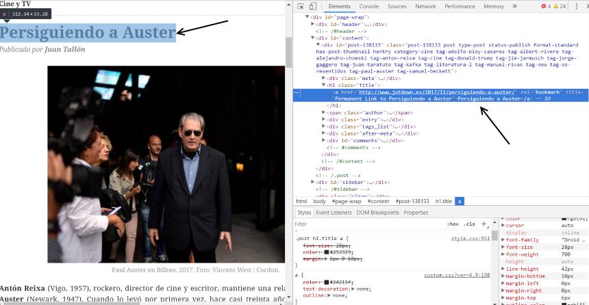 Código fuente de un artículo de revista. Parte del SEO de contenidos es el conocimiento del HTML