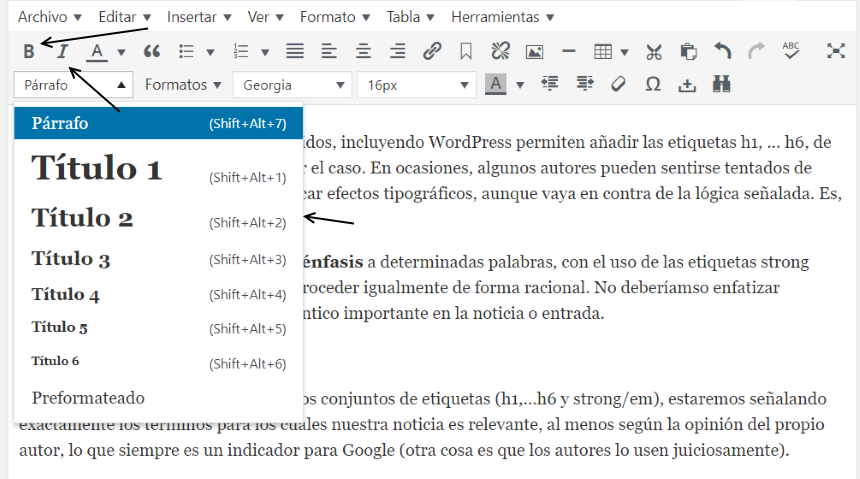 Forma de aplicar estructura a un documento en WordPress