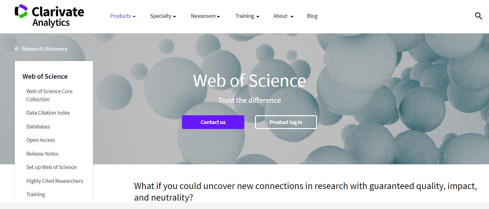 Sitio web de Clarivate Analytics la empresa propietaria de Web of Science.