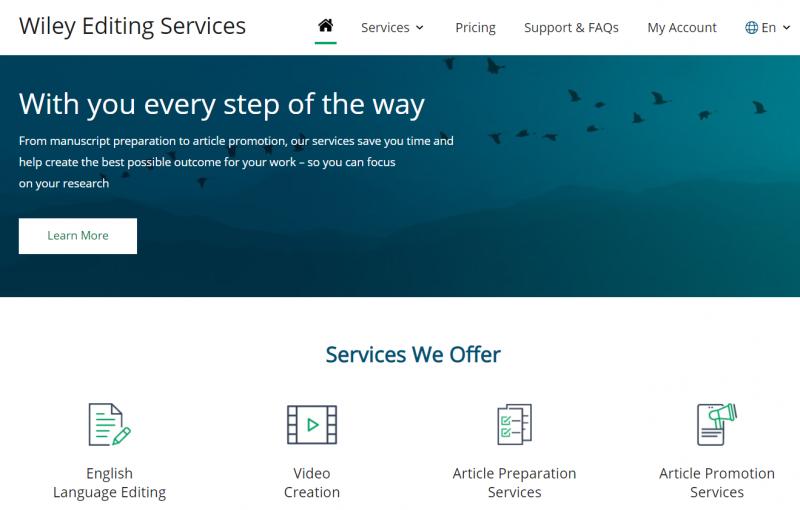 Wiley. Servicios que ofrecen a los autores