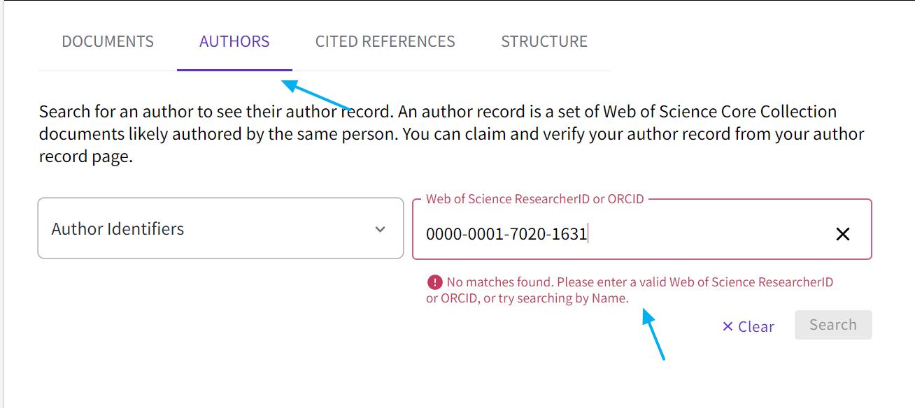 Web of Science - Búsqueda de autores